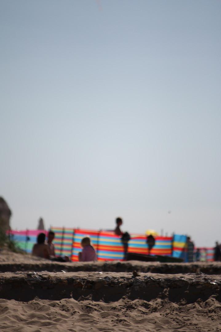 Colourful windbreak, Old Hunstanton beach
