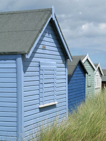blue green beach huts, Old Hunstanton beach