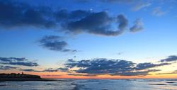 Sunsetting sea