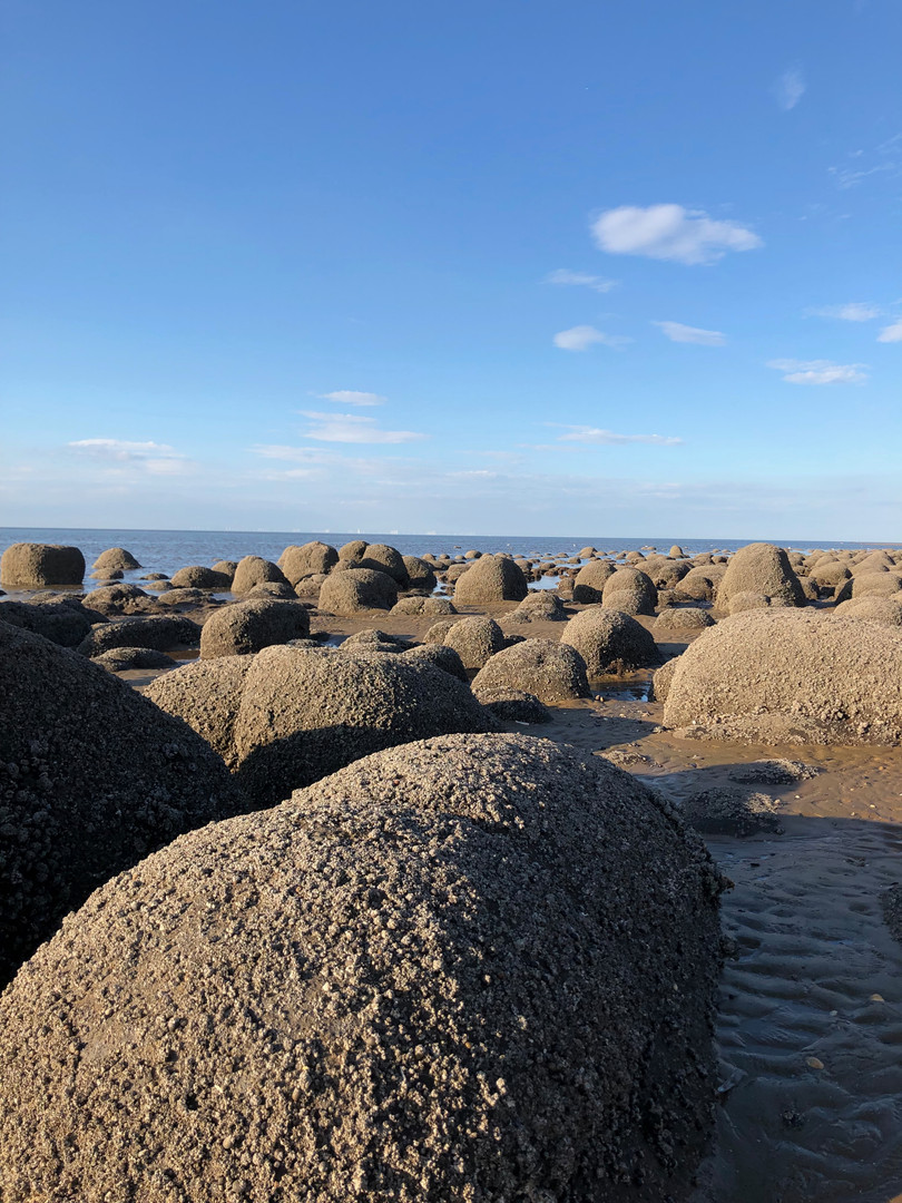Beach boulders Old Hunstanton beach