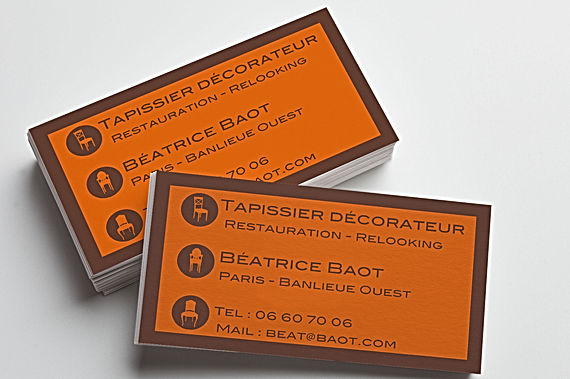 carte de visite, business card, tapissier, carré, graphisme, design graphique