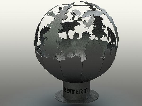 костровая сфера, кострище, костровище-очаг, очаг для костра, предмет ландшафтного дизайна, сфера для костра