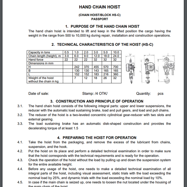 User's manual: Hand chain hoist