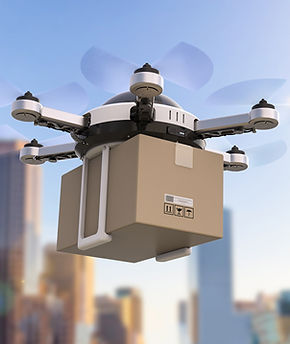 mail delivery drones, packages, medical supply drones, air delivery system