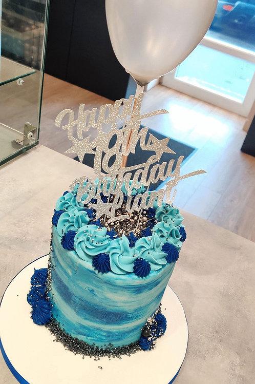 Blue Tie Dye Balloon Cake 💙
