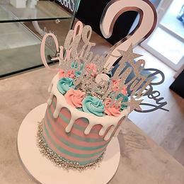 Baby Shower Stripe Drip Cake 👶🏼🍼