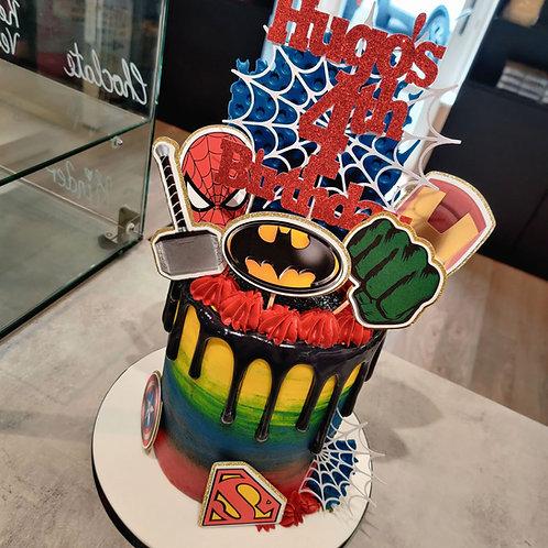 Marvel superhero drip cake in Liverpool
