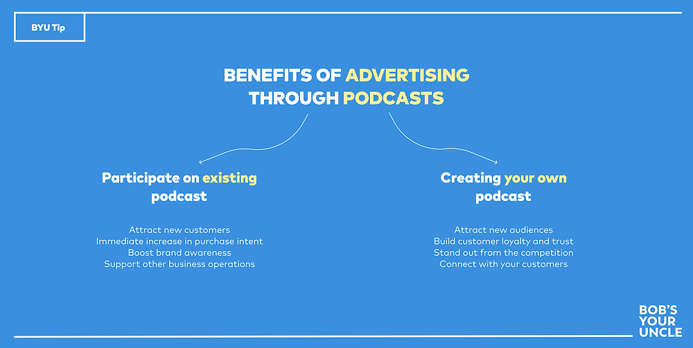 Benefits of advertising your business through an existing podcast and by creating your own podcast.