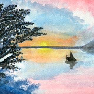 Sunset Lake and Boat