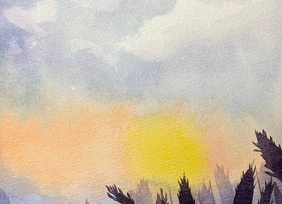 Sunset wheat - original, 10x7