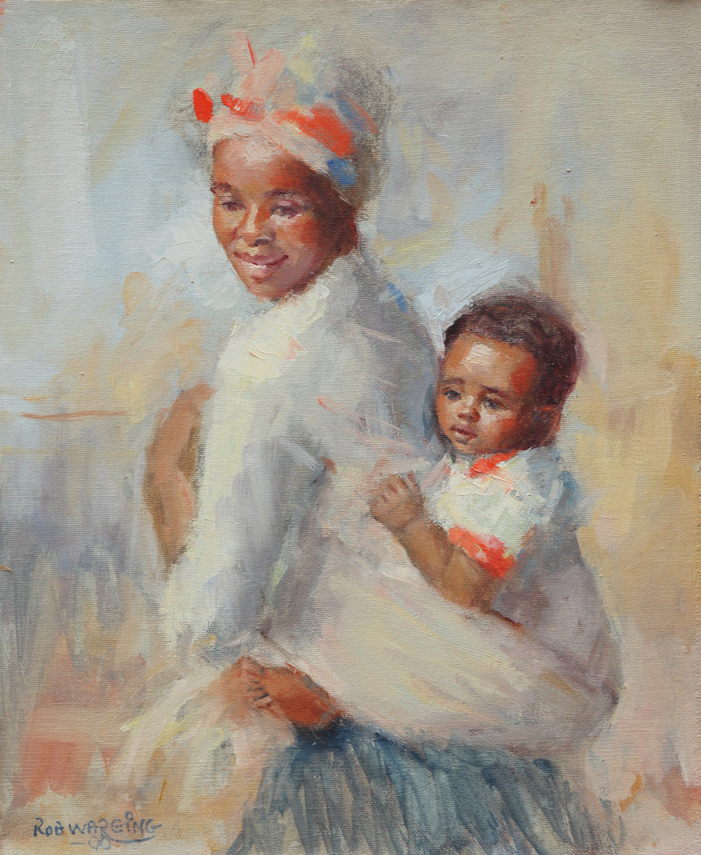 Zulu Mother & Child oils on canvas 14inx