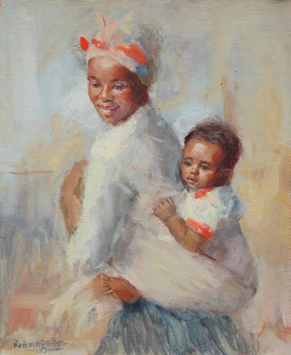 Zulu Mother & Child oils on canvas 14inx