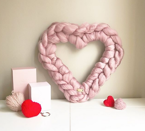 Knitted Heart Wreath