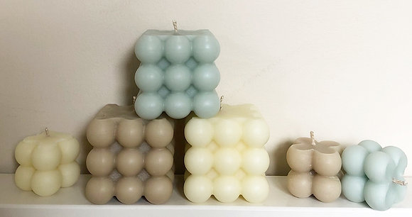 Bubble Cube Beeswax Candles