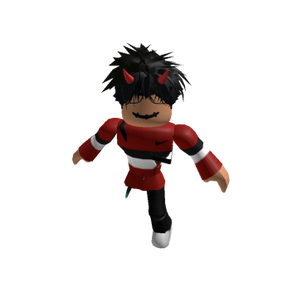 Roblox Oder Slender Outfit w/ Red Shirt & Black & White Stripes