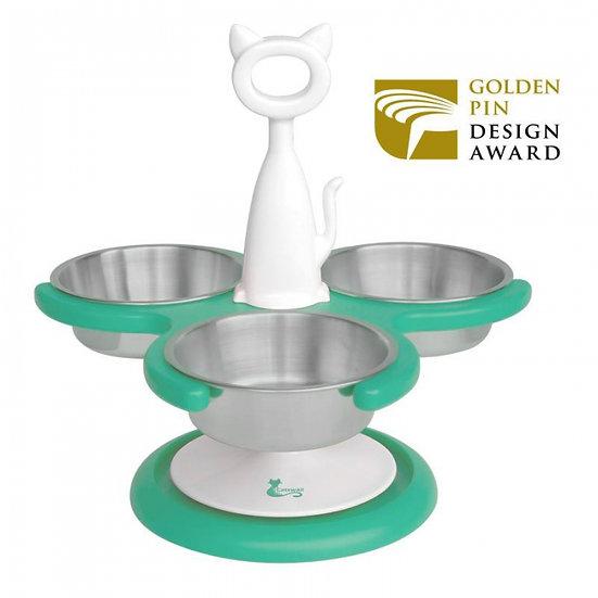 Catswall Design Multi-Cat Raised Feeder (3 bowl) Aqua