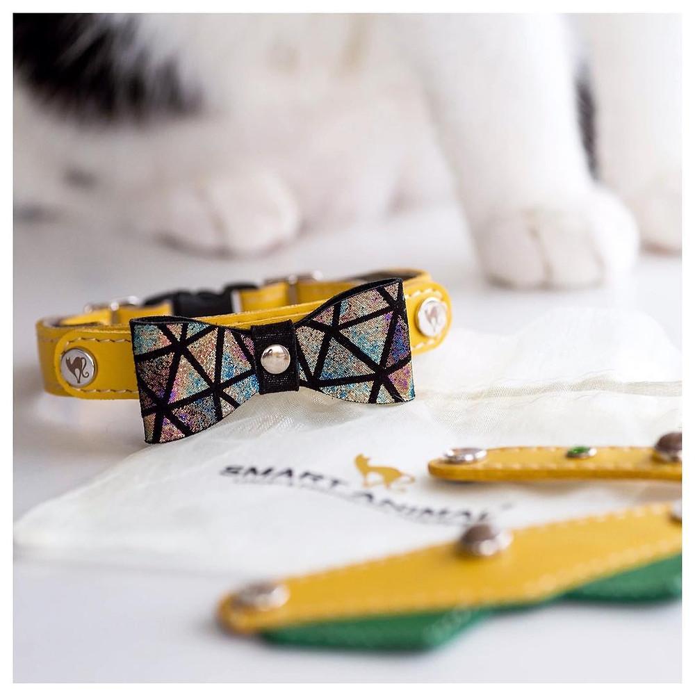 Yellow bowtie cat collar