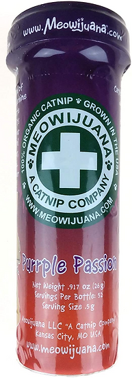 Meowijuana Purple Passion Catnip and Silvervine for cats bottle
