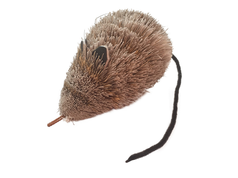 Natural deer hair mouse cat toy for cat wands