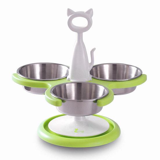 Catswall Design Multi-Cat Raised Feeder (3 bowl) Green