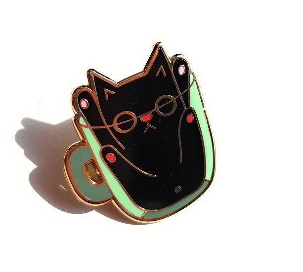Black Cat In A Cup Enamel Pin