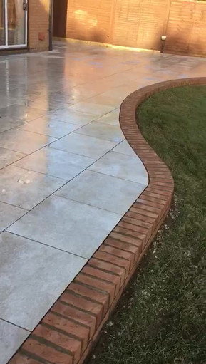 Porcelain paving with brick on edge