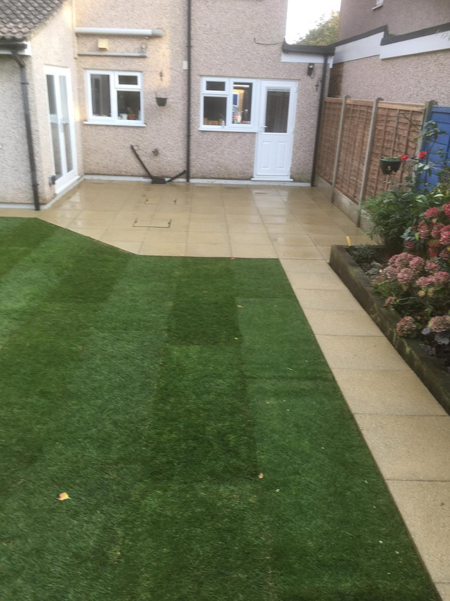 Saxon slabs & new turf