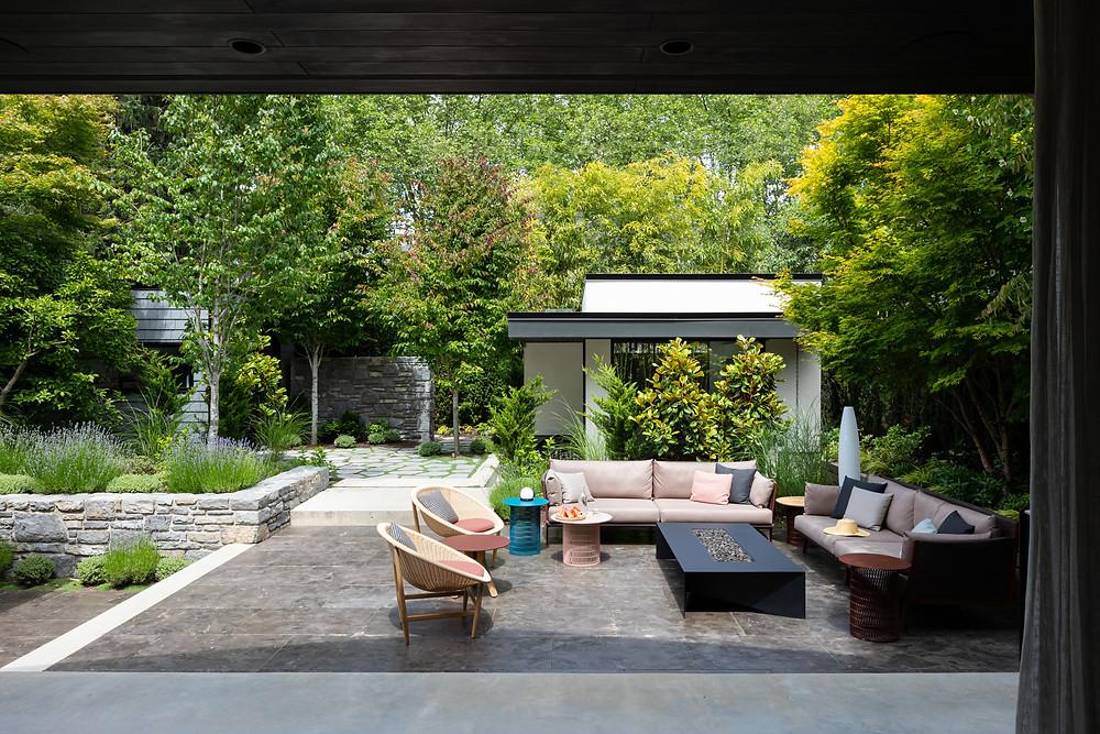 Indoor outdoor garden, outdoor furniture fire pit landscaping