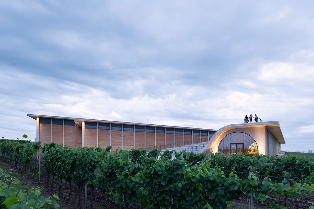 Exterior image of The Lahofer Winery, located in Dobšice, Czech Republic, was designed by CHYBIK + KRISTOF. Round glass window, curved staircase, people on rooftop.