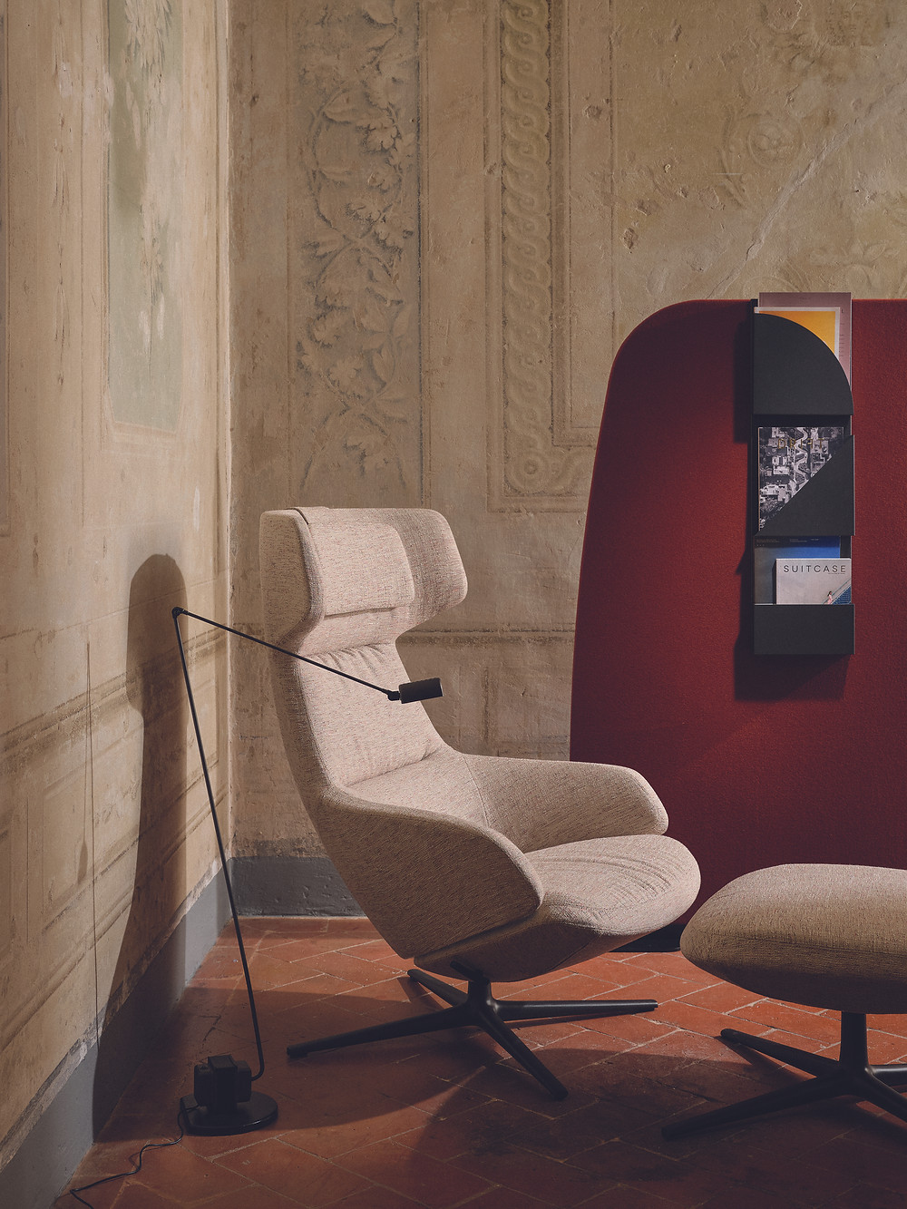 The Arper Aston Club chair upholstered in Sonar 3 fabric from Raf Simons and Kvadrat.