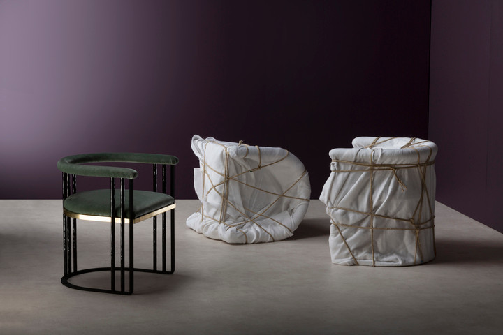new furniture and lighting collection from Maison Pouenat and Humbert & Poyet takes moody inspiration from the Art Deco period. Purple, green, brass, Art Deco.