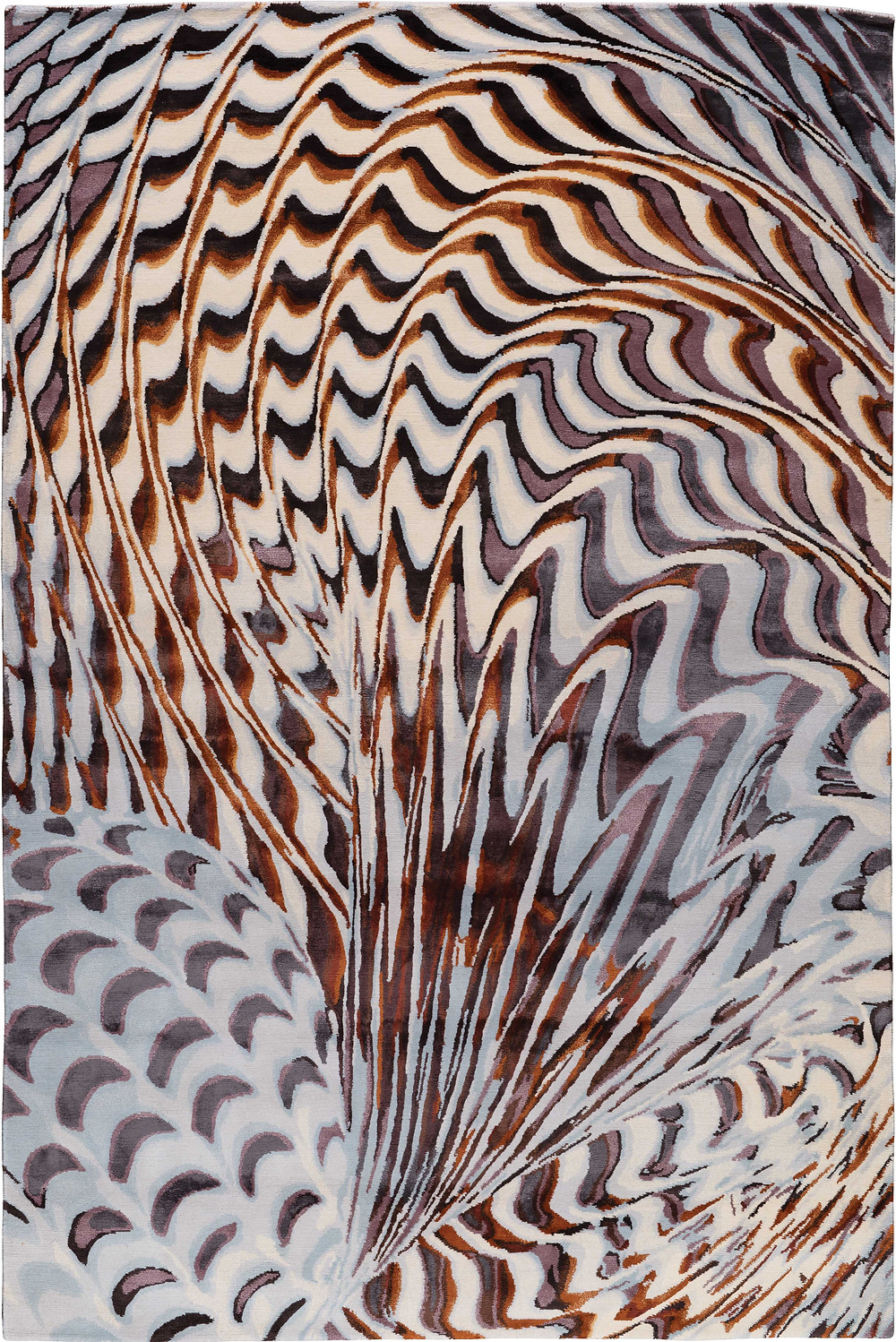 Pheasant takes inspiration from Chihuly's 'Macchia' series in which pieces of colored glass are layered on the surface of the 'Macchia' during the glassblowing process. Pheasant features a shell-like motif that twists and contorts across the composition to bold effect.