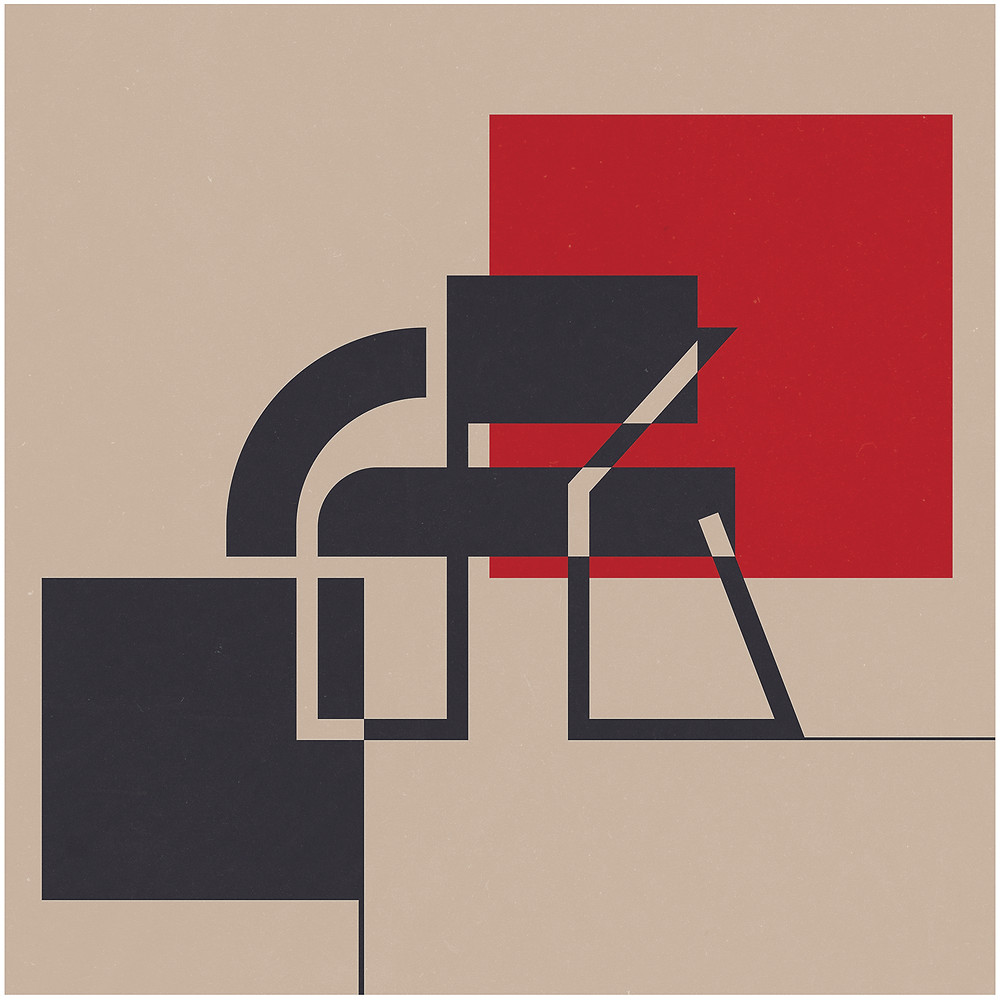 Graphic art of modern chair, tan background, black chair, black square, red square, Illustration for 'Chairpedia' by Antonio Solaz. Courtesy of La Fábrica