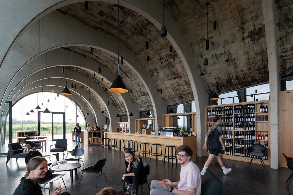 Barrel concrete ceiling of the tasting room at Lahore Winery, modeled after archetypal Czech wine cellars. Pendent lights, light wood, bar with barstools, seating area, round glass window.