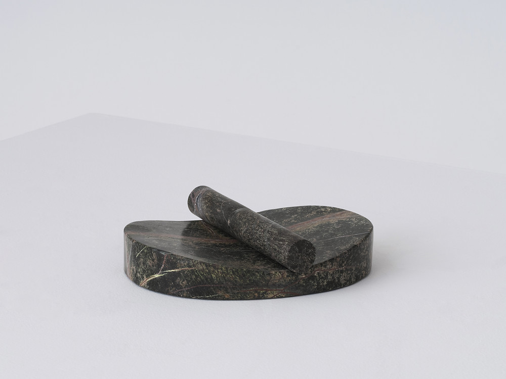 The Lithic collection's two-piece Paper Holder in green stone designed by Studio Gorm for EQ3.