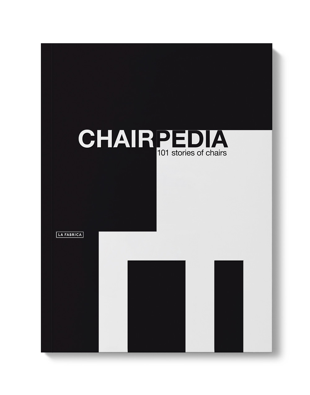 Book cover in black and white, black background with white chair, Chairpedia, 101 Stories of Chairs