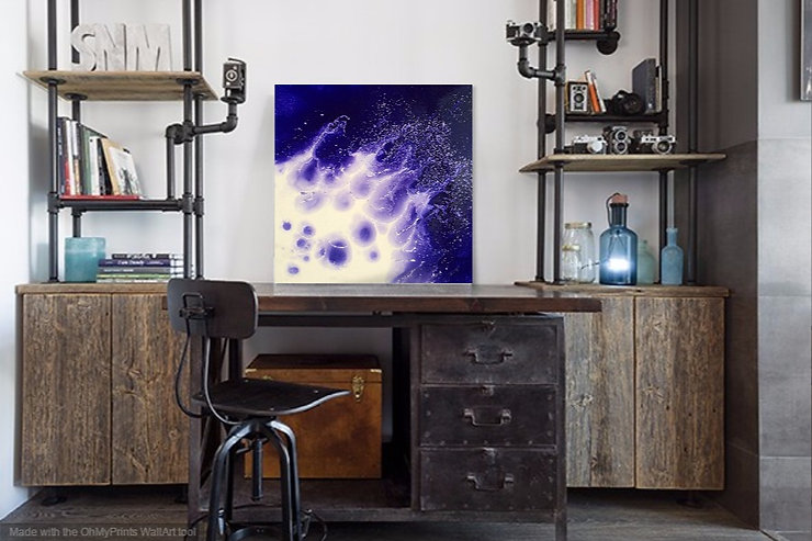Indigo Splash, a bold abstract expression in acrylic and Ol on canvas. Vibrant, and bold fluid technique.