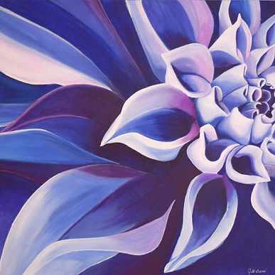 Blue Dahlia, a bold representation in acrylic on canvas. Vibrant, macro floral.