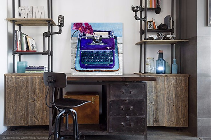 Typewriter, a bold realist representation in acrylic on canvas. Vibrant,whimsical, retro.