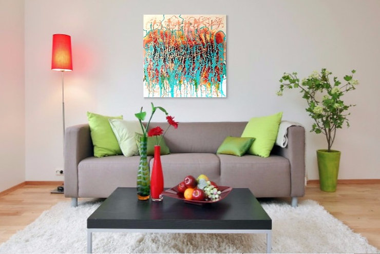 Verve,vibrant modern abstract in acrylic and oil on canvas.
