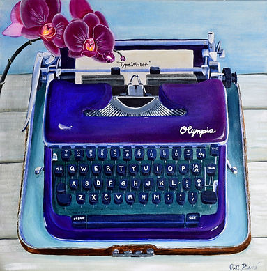 Typewriter, a bold representation in acrylic on canvas. Vibrant,whimsical, retro.
