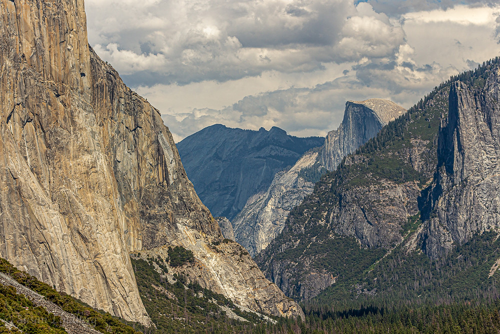 close up of Tunnel View, Yosemite National Park, California.  Half Dome, El Capitan, mountains, forests, nature, vacation, travel, outdoors