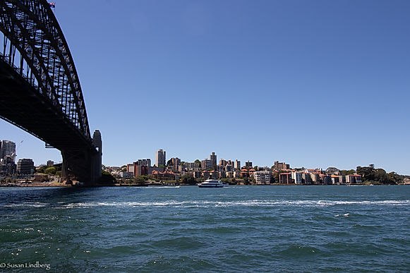 Sydney Harbor Bridge side view with city buildings in background