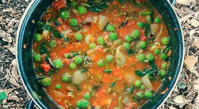 מינסטרונה מקומית_ עגבניות ובצל, שום משול