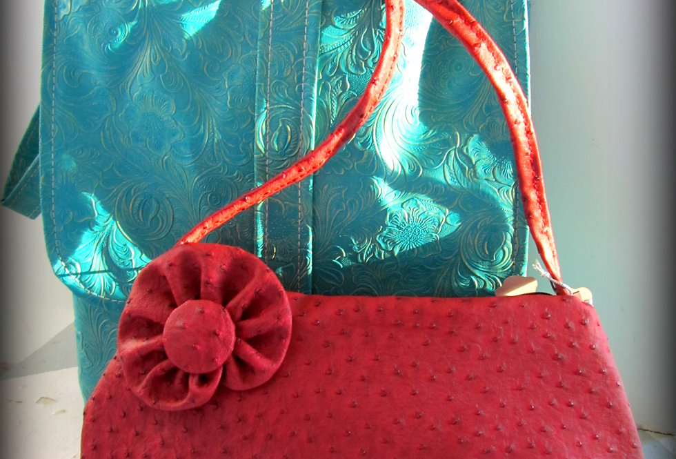 Pink Coral Ostrich Embossed Bag