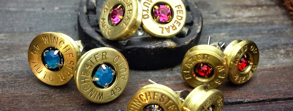 Bullet Birthstone Earrings Post