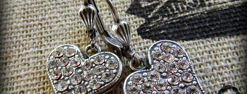 La Vie Crystal Heart Earrings