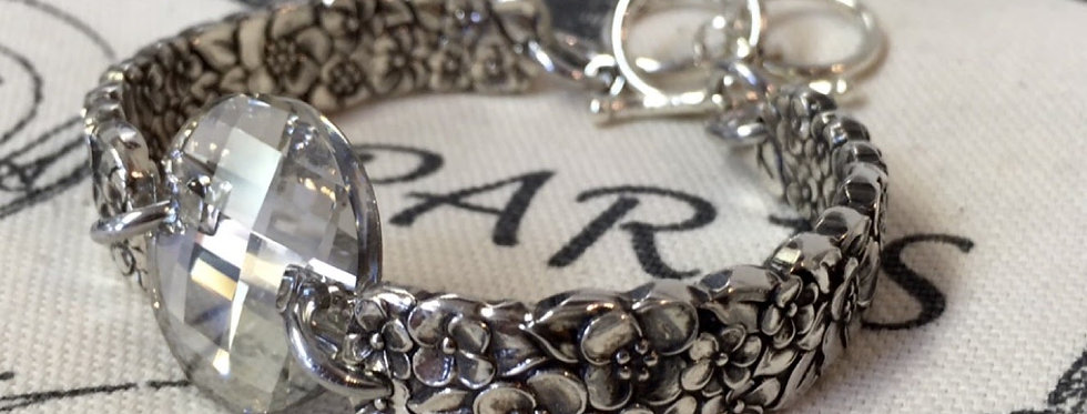 Spoon Bracelet Floral Silver Shade