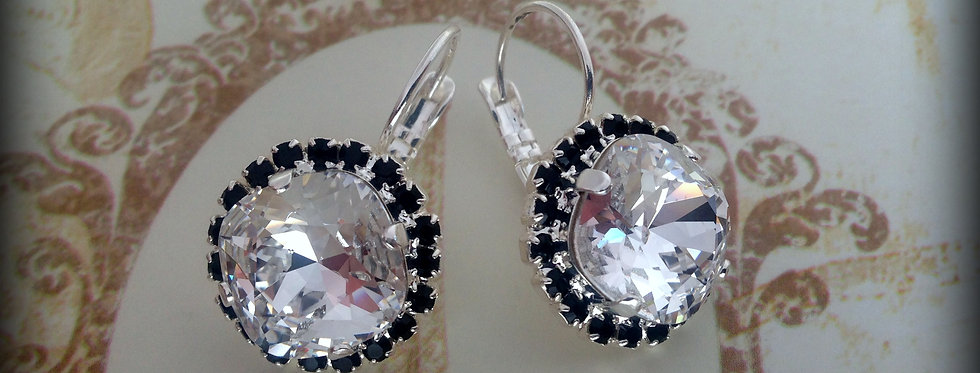 Elise Earring in Crystal Clear and Jet Black