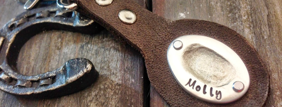 Oval Thumbprint on leather key chain
